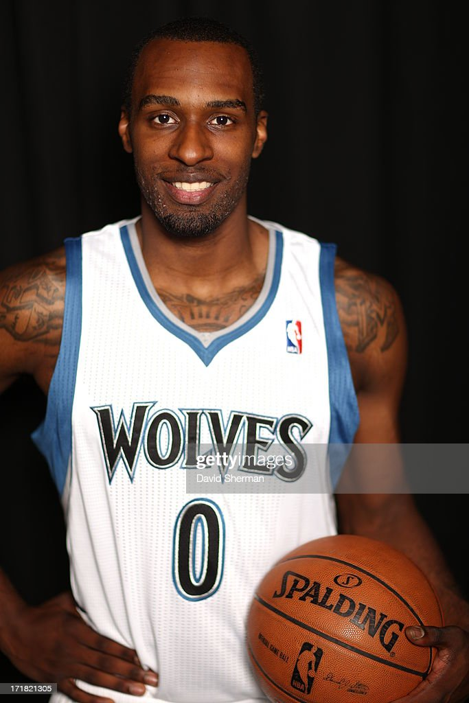 Minnesota Timberwolves 2013 NBA Draft Pick <a gi-track='captionPersonalityLinkClicked' href=/galleries/search?phrase=Shabazz+Muhammad&family=editorial&specificpeople=7447677 ng-click='$event.stopPropagation()'>Shabazz Muhammad</a> (14th) poses for portraits on June 28, 2013 at Target Center in Minneapolis, Minnesota.