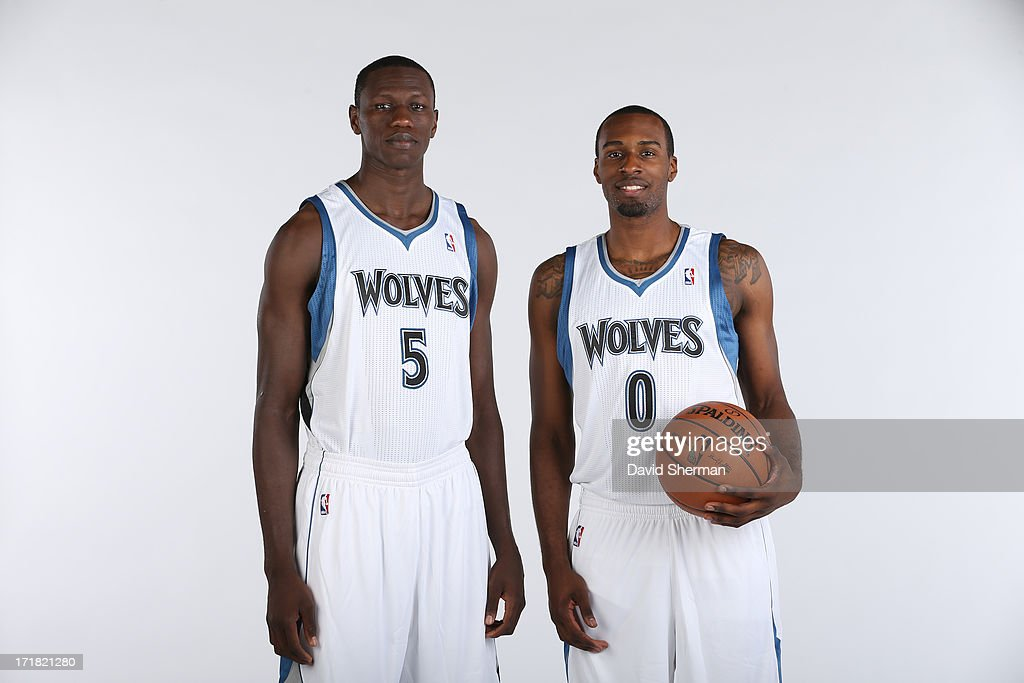 Minnesota Timberwolves 2013 NBA Draft Picks Shabazz Muhammad (14th) and Gorgui Dieng (21st) pose for portraits on June 28, 2013 at Target Center in Minneapolis, Minnesota.