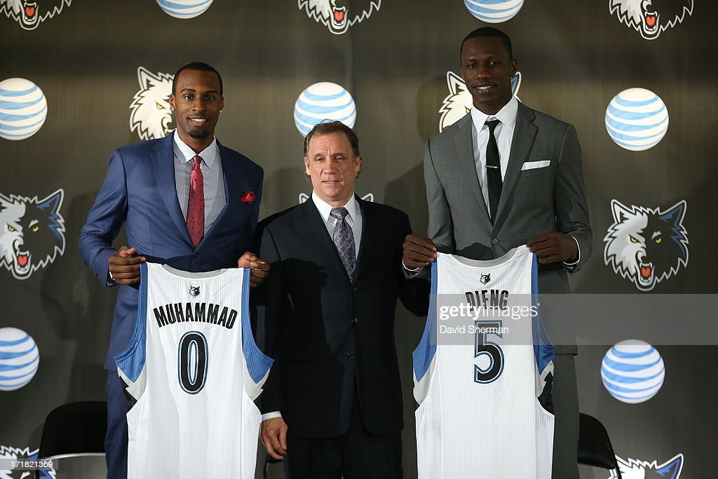 Minnesota Timberwolves 2013 NBA Draft Picks Shabazz Muhammad (14th) and Gorgui Dieng (21st) are introduced to the media by Phil 'Flip' Saunders, President of Basketball Operations on June 28, 2013 at Target Center in Minneapolis, Minnesota.
