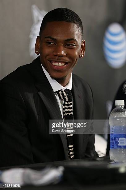 Minnesota Timberwolves 2014 NBA Draft pick Glenn Robinson III is introduced to the media during a press conference on June 27 2014 at Target Center...