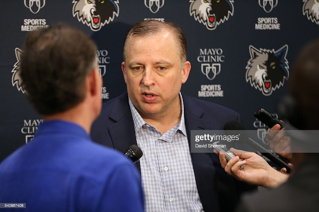 Minnesota Timberwolves 2016 NBA Draft Pick Kris Dunn is introduced to the media by <a gi-track='captionPersonalityLinkClicked' href=/galleries/search?phrase=Tom+Thibodeau&family=editorial&specificpeople=2162261 ng-click='$event.stopPropagation()'>Tom Thibodeau</a>, President of Basketball Operations and Head Coach and Scott Layden, General Manger, on June 24, 2016 at the Minnesota Timberwolves and Lynx Courts at Mayo Clinic Square in Minneapolis, Minnesota.