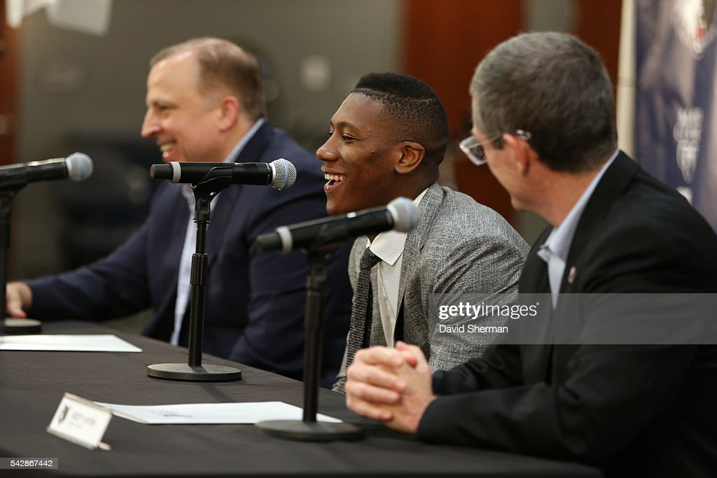 Minnesota Timberwolves 2016 NBA Draft Pick <a gi-track='captionPersonalityLinkClicked' href=/galleries/search?phrase=Kris+Dunn&family=editorial&specificpeople=7887137 ng-click='$event.stopPropagation()'>Kris Dunn</a> is introduced to the media by <a gi-track='captionPersonalityLinkClicked' href=/galleries/search?phrase=Tom+Thibodeau&family=editorial&specificpeople=2162261 ng-click='$event.stopPropagation()'>Tom Thibodeau</a>, President of Basketball Operations and Head Coach and Scott Layden, General Manger, on June 24, 2016 at the Minnesota Timberwolves and Lynx Courts at Mayo Clinic Square in Minneapolis, Minnesota.