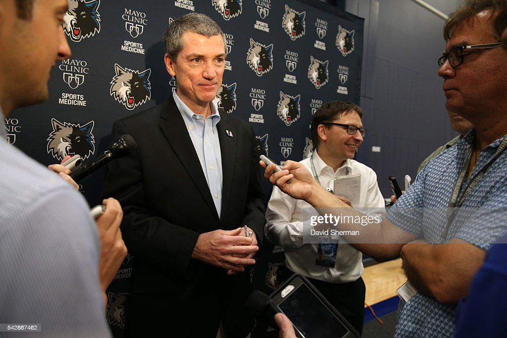 Minnesota Timberwolves 2016 NBA Draft Pick Kris Dunn is introduced to the media by Tom Thibodeau, President of Basketball Operations and Head Coach and Scott Layden, General Manger, on June 24, 2016 at the Minnesota Timberwolves and Lynx Courts at Mayo Clinic Square in Minneapolis, Minnesota.