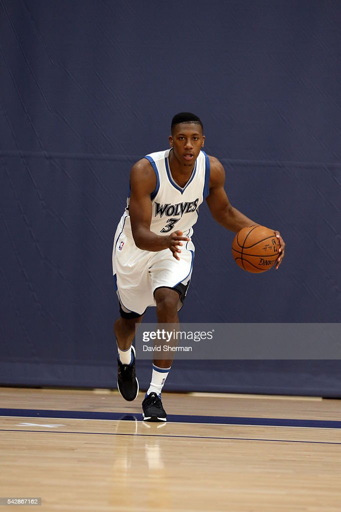 Minnesota Timberwolves 2016 NBA Draft Pick <a gi-track='captionPersonalityLinkClicked' href=/galleries/search?phrase=Kris+Dunn&family=editorial&specificpeople=7887137 ng-click='$event.stopPropagation()'>Kris Dunn</a> poses for photos on June 24, 2016 at the Minnesota Timberwolves and Lynx Courts at Mayo Clinic Square in Minneapolis, Minnesota.