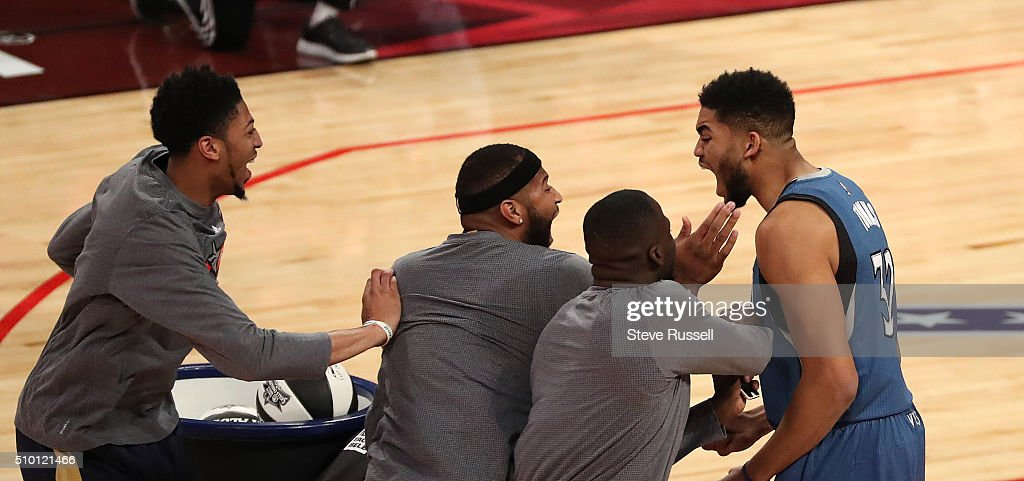 Minnesota Timberwolves Center Karl-Anthony Towns is congratulated by his fellow competitors after winning the Skills Challenge during the NBA's All-Star Saturday Night. Where players compete in three events, the Skills Challenge, 3-point shooting and Slam Dunk at the in Toronto. February 13, 2016.