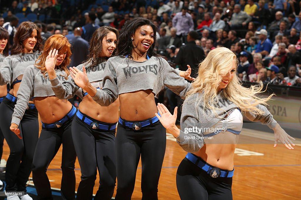 Minnesota Timberwolves dance team performs against the Oklahoma City Thunder on November 1, 2013 at Target Center in Minneapolis, Minnesota.
