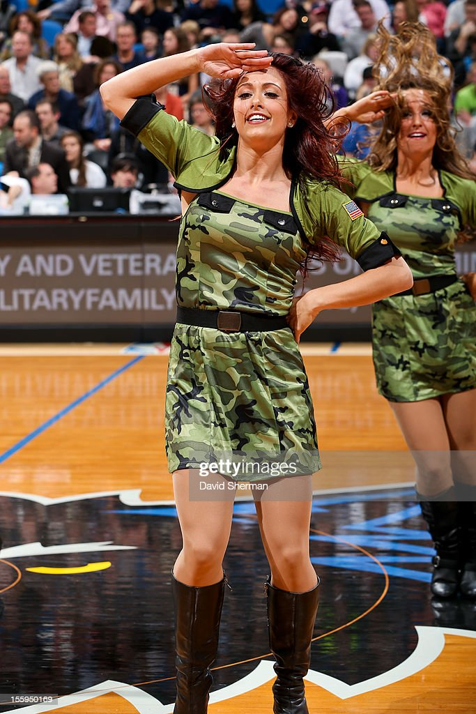 Minnesota Timberwolves dancers, wearing outfits to honor members of the Armed Forces, perform during a game against the Indiana Pacers on November 9, 2012 at Target Center in Minneapolis, Minnesota.