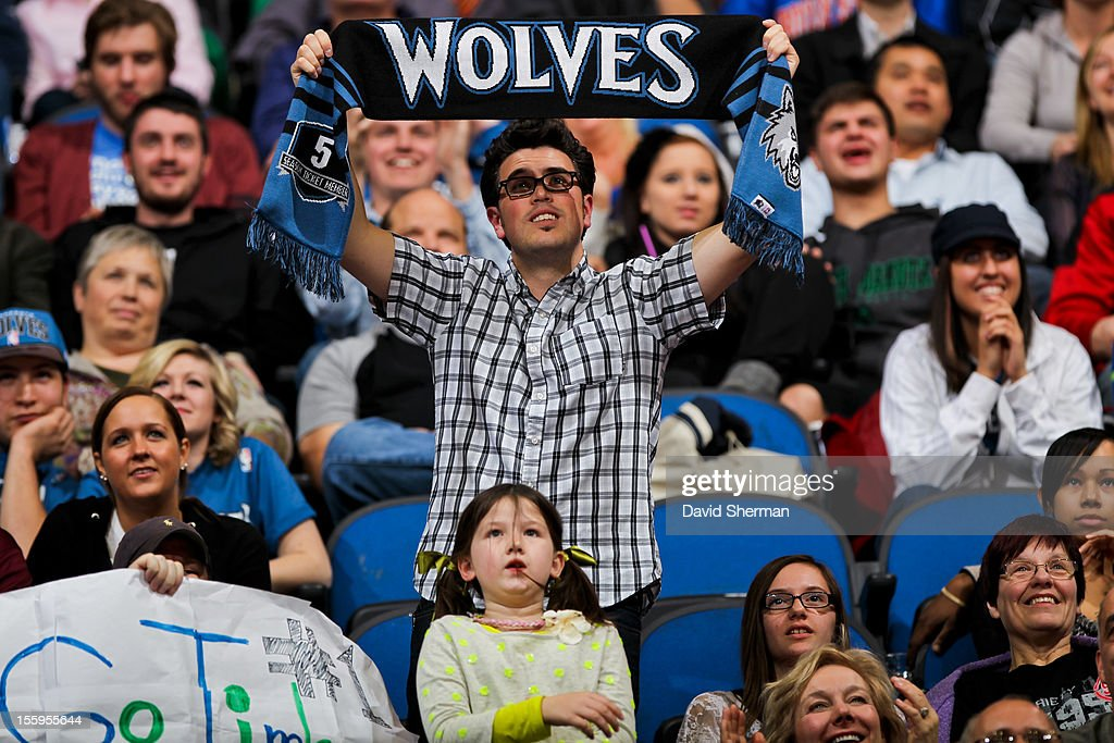 Minnesota Timberwolves fans cheer on their team against the Indiana Pacers on November 9, 2012 at Target Center in Minneapolis, Minnesota.