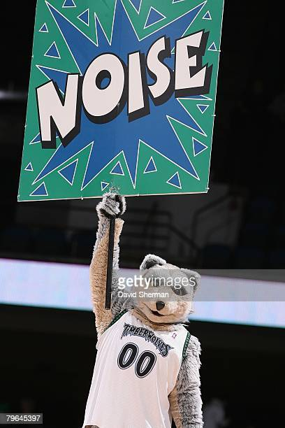 Minnesota Timberwolves mascot Crunch holds up a Noise sign during the game against the Golden State Warriors at the Target Center on January 15 2008...