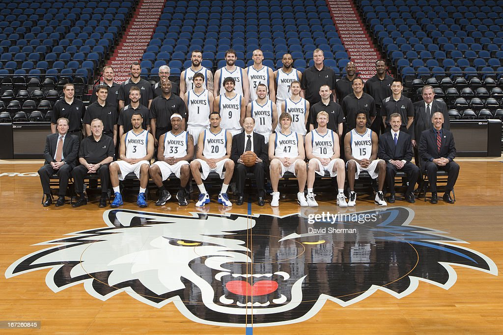 Minnesota Timberwolves pose for the annual Team Portrait on April 16, 2013 at Target Center in Minneapolis, Minnesota.