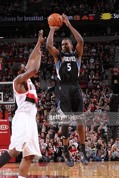 Minnesota Timberwolves small forward Martell Webster goes for a jump shot during the game against the Portland Trail Blazers on January 17 2011 at...