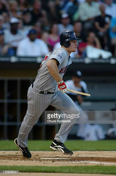 Minnesota Twins 1st Baseman Justin Morneau breaks his bat while grounding out during the game against the Chicago White Sox July 24 2006 at US...