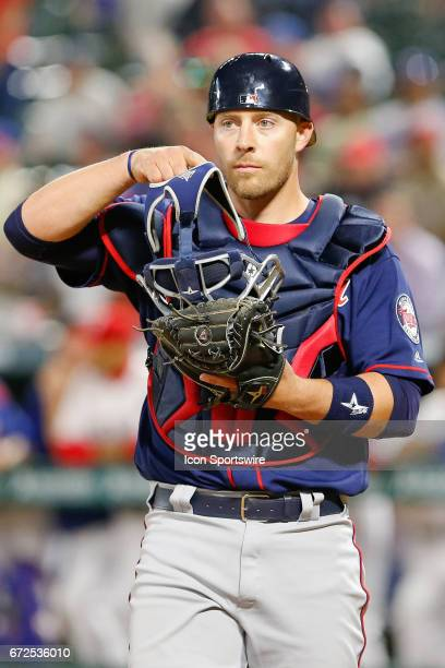 Minnesota Twins Catcher Chris Gimenez during the MLB game between the Minnesota Twins and Texas Rangers on April 24 2017 at Globe Life Park in...