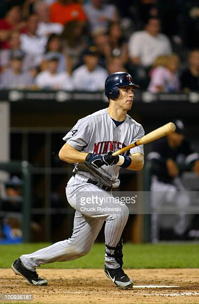 Minnesota Twins' catcher Joe Mauer batting during their game against the Chicago White Sox on August 25 2006 at US Cellular Field in Chicago Illinois...