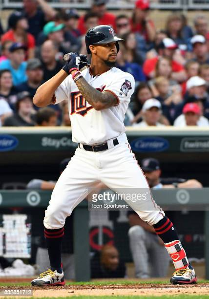 Minnesota Twins Center field Byron Buxton at the plate during a MLB game between the Minnesota Twins and Cleveland Indians on August 15 2017 at...