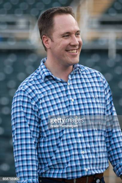 Minnesota Twins chief baseball officer Derek Falvey looks on against the Tampa Bay Rays on February 24 2017 at the CenturyLink Sports Complex in Fort...