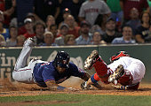 Minnesota Twins designated hitter Kennys Vargas scores the gametying run during the seventh inning on a play that originally ruled him out on the tag...