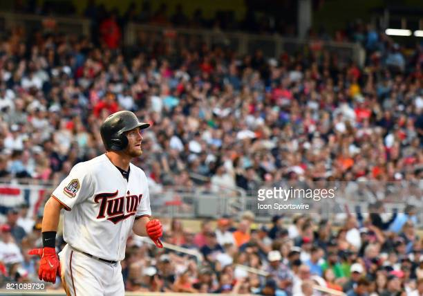 Minnesota Twins Designated hitter Robbie Grossman runs to 1st during a MLB game between the Minnesota Twins and Detroit Tigers on July 22 2017 at...