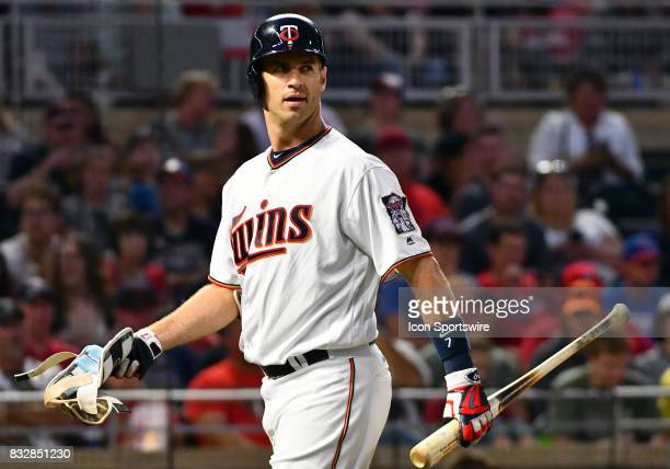 Minnesota Twins First base Joe Mauer walks to the dugout after striking out during a MLB game between the Minnesota Twins and Cleveland Indians on...