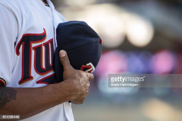 Minnesota Twins hat and jersey against the Baltimore Orioles on July 6 2017 at Target Field in Minneapolis Minnesota The Twins defeated the Orioles 64