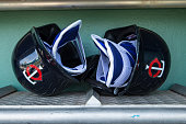 Minnesota Twins helmets in the dugout against the Boston Red Sox during a spring training game on March 2 2016 at JetBlue Park in Fort Myers Florida