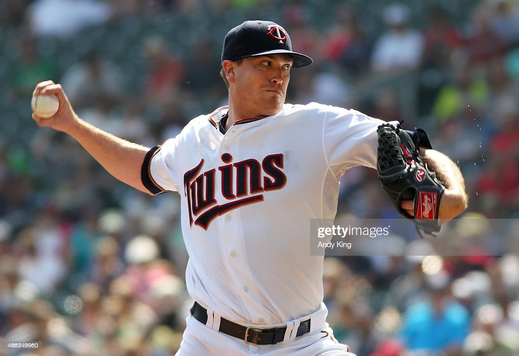 Minnesota Twins Kyle Gibson in the first inning during MLB game action against the Chicago White Sox on September 3 2015 at Target Field in...