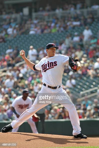 Minnesota Twins Kyle Gibson throws in the first inning during MLB game action against the Chicago White Sox on September 3 2015 at Target Field in...