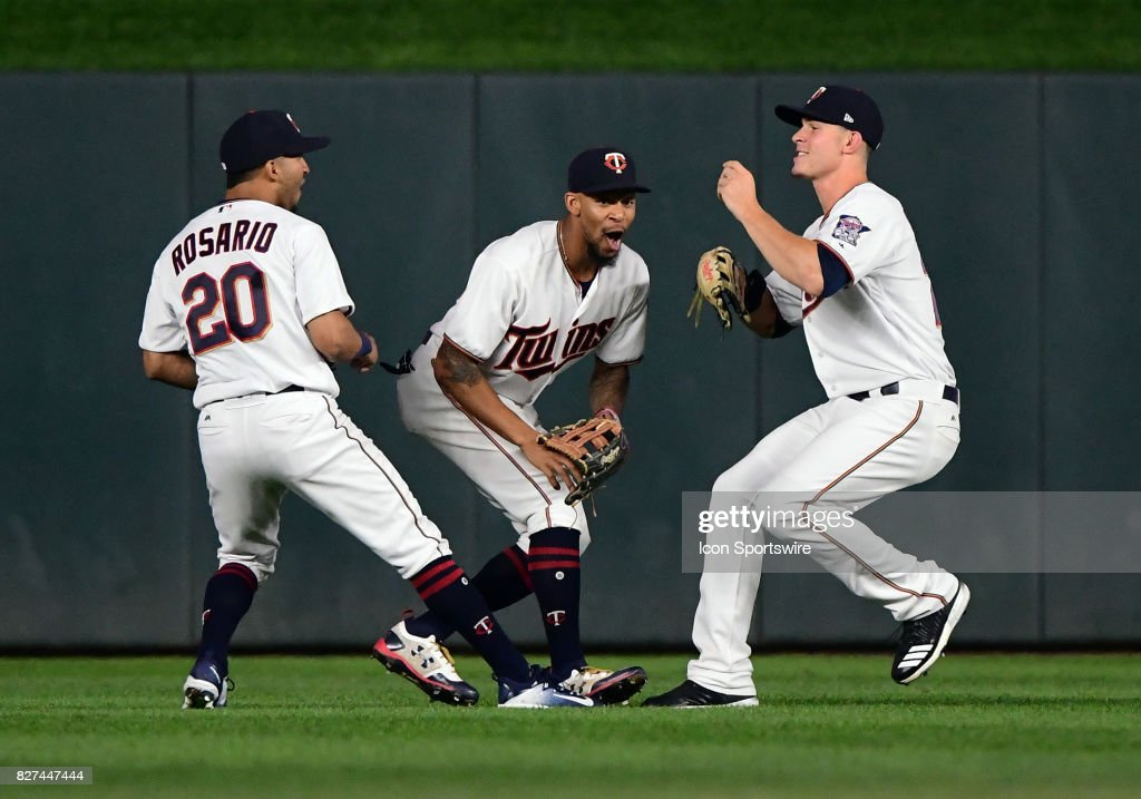 Minnesota Twins Outfield Eddie Rosario (20), Minnesota Twins Center field Byron Buxton (25), and Minnesota Twins Right field Max Kepler (26) celebrate after a MLB game between the Minnesota Twins and Milwaukee Brewers on August 7, 2017 at Target Field in Minneapolis, MN. The Twins defeated the Brewers 5-4.