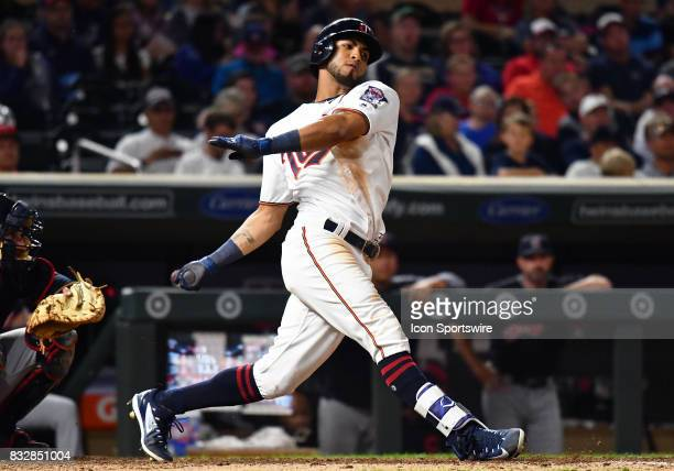 Minnesota Twins Outfield Eddie Rosario takes a big cut during a MLB game between the Minnesota Twins and Cleveland Indians on August 15 2017 at...