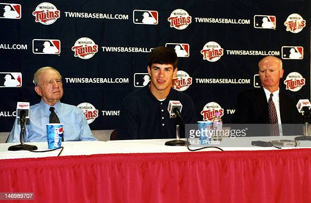 Minnesota Twins owner Carl Pohlad first overall draft pick Joe Mauer and Minnesota Twins general manager Terry Ryan are seen during a press...