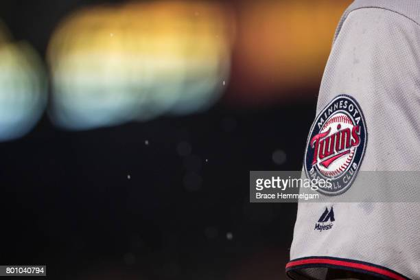 Minnesota Twins patch on the left jersey sleeve against the Baltimore Orioles on May 23 2017 at Oriole Park at Camden Yards in Baltimore Maryland The...