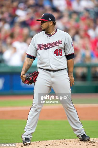 Minnesota Twins pitcher Adalberto Mejia looks in for a sign during the first inning of the Major League Baseball game between the Minnesota Twins and...
