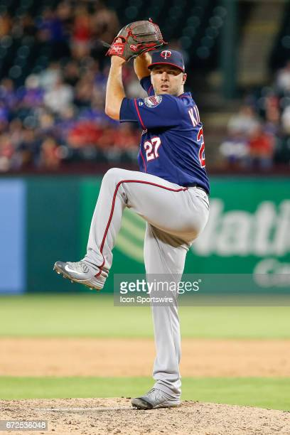 Minnesota Twins Pitcher Brandon Kintzler comes on to close out the the MLB game between the Minnesota Twins and Texas Rangers on April 24 2017 at...