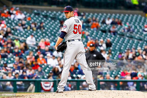 Minnesota Twins pitcher Casey Fien during a regular season game between the Minnesota Twins and the Detroit Tigers played at Comerica Park in Detroit...