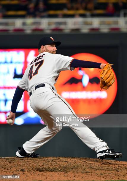Minnesota Twins Pitcher Dietrich Enns delivers a pitch during a MLB game between the Minnesota Twins and Cleveland Indians on August 15 2017 at...