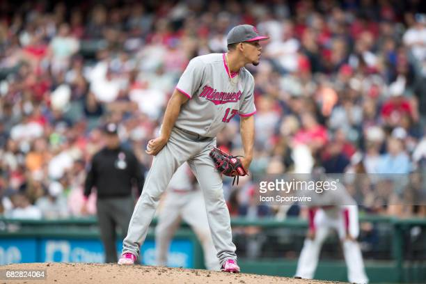 Minnesota Twins Pitcher Jose Berrios looks in for a sign during the eighth inning of the Major League Baseball game between the Minnesota Twins and...