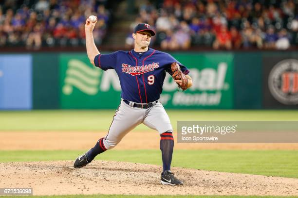 Minnesota Twins Pitcher Matt Belisle throws a pitch during the MLB game between the Minnesota Twins and Texas Rangers on April 24 2017 at Globe Life...
