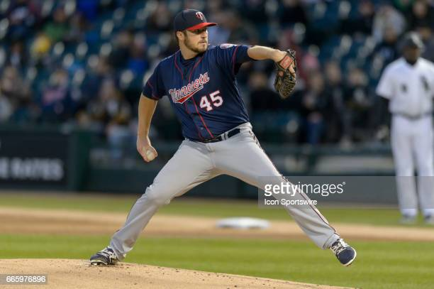 Minnesota Twins Pitcher Phil Hughes pitches in the 1st inning during a MLB game between the Minnesota Twins and the Chicago White Sox on April 07 at...
