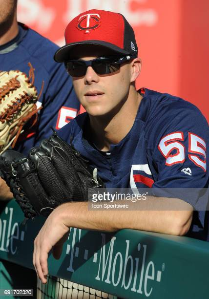 Minnesota Twins pitcher Taylor Rogers leaning on the dugout rail during batting practice before a game against the Los Angeles Angels of Anaheim on...