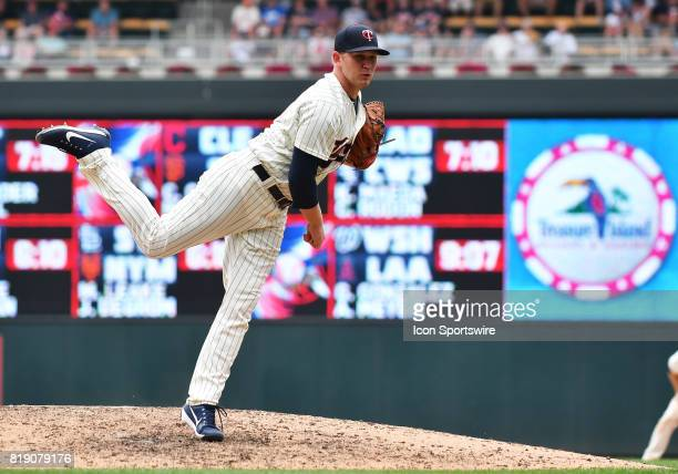 Minnesota Twins Pitcher Tyler Duffey delivers a pitch during a MLB game between the Minnesota Twins and New York Yankees on July 19 2017 at Target...