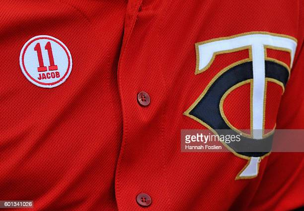 Minnesota Twins' players wear a patch honoring Jacob Wetterling on their jerseys for the game against the Cleveland Indians on September 9 2016 at...