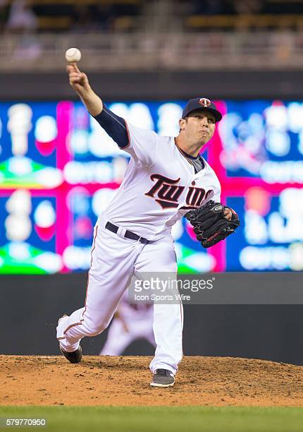 Minnesota Twins relief pitcher Casey Fien pitches in the eighth inning against the Detroit Tigers at Target Field Minneapolis MN The Minnesota Twins...