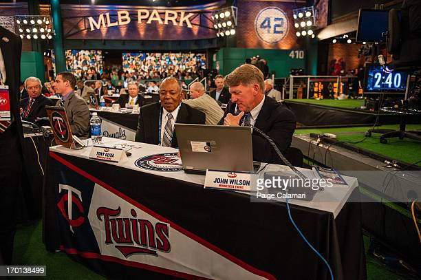 Minnesota Twins representatives Tony Oliva and John Wilson are seen during the 2013 FirstYear Player Draft at MLB Network's Studio 42 on June 6 2013...
