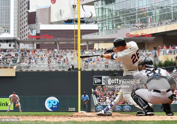 Minnesota Twins Right field Max Kepler makes contact during a MLB game between the Minnesota Twins and New York Yankees on July 19 2017 at Target...