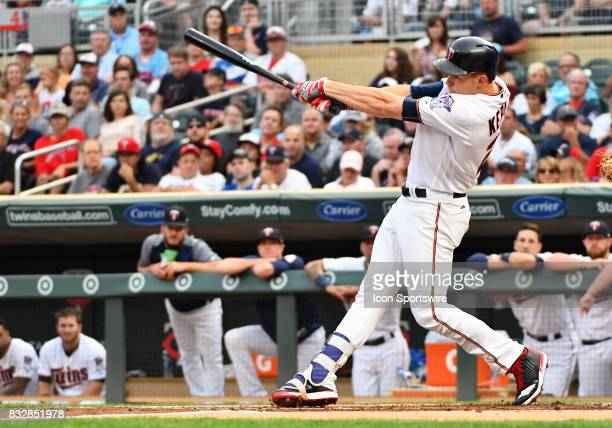 Minnesota Twins Right field Max Kepler makes contact during a MLB game between the Minnesota Twins and Cleveland Indians on August 15 2017 at Target...