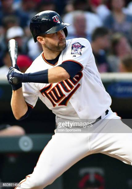 Minnesota Twins Second base Brian Dozier at the plate during a MLB game between the Minnesota Twins and Cleveland Indians on August 15 2017 at Target...