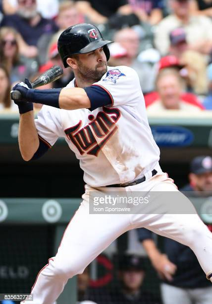 Minnesota Twins Second base Brian Dozier at the plate during game 1 of a MLB splitdoubleheader between the Minnesota Twins and Cleveland Indians on...