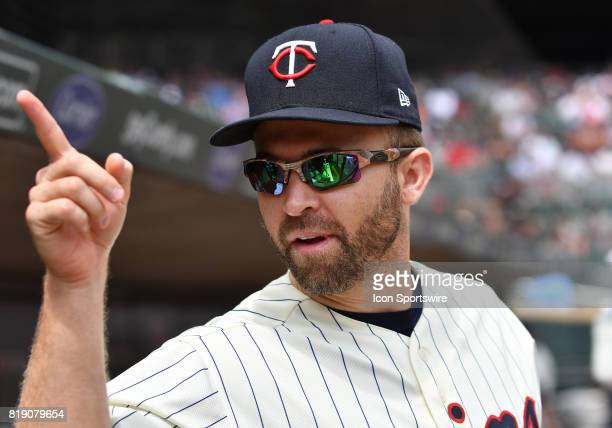 Minnesota Twins Second base Brian Dozier points at a video camera during a MLB game between the Minnesota Twins and New York Yankees on July 19 2017...