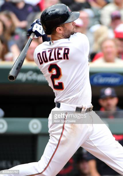 Minnesota Twins Second base Brian Dozier swings and misses during game 1 of a MLB splitdoubleheader between the Minnesota Twins and Cleveland Indians...