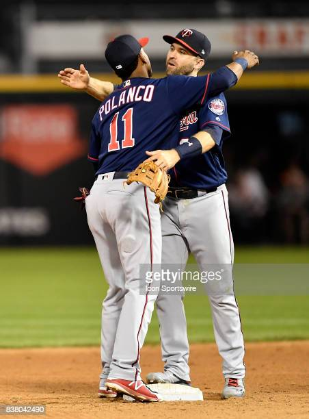 Minnesota Twins shortstop Jorge Polanco and Minnesota Twins second baseman Brian Dozier celebrate the win against the Chicago White Sox on August 22...